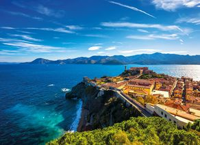 Elba island Portoferraio aerial view. Lighthouse and fort. Tusc 502162530 8642x5761